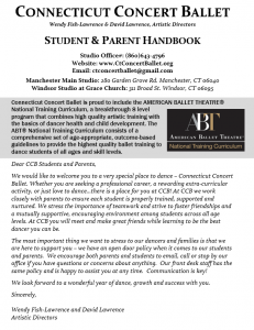 Website student parent handbook image - Connecticut Concert Ballet